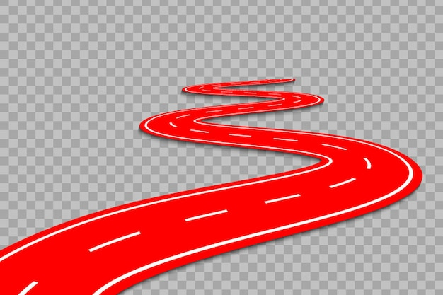 Winding road on transparent