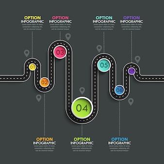 Инфографический шаблон местоположения извилистой дороги с поэтапной структурой