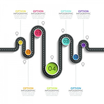 Winding road way location infographic template with a phased structure