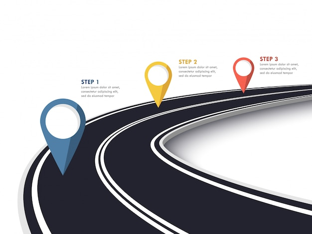 Winding road way location infographic template with pin pointer.