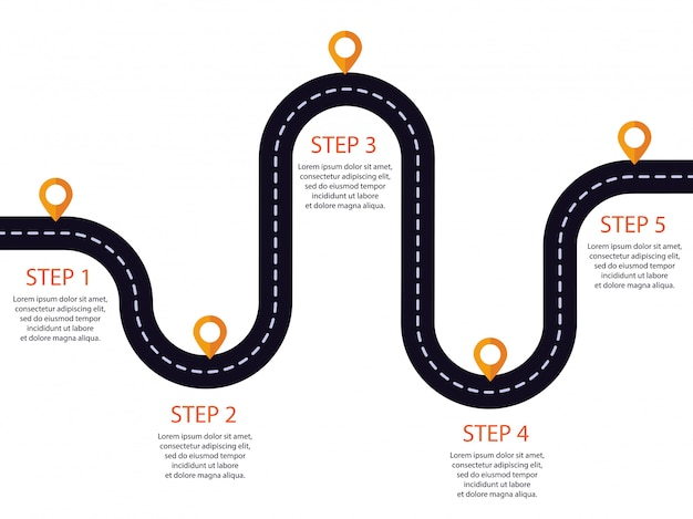Winding road with pin-pointer. infographic template of steps.