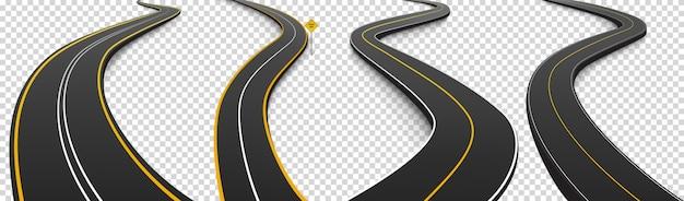 구불 구불 한 도로, 흰색과 노란색 표시가있는 검은 색 아스팔트 고속도로