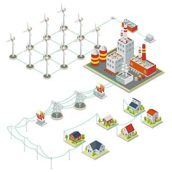 Windmilタービン出力。 3dアイソメトリッククリーンエネルギーの概念。