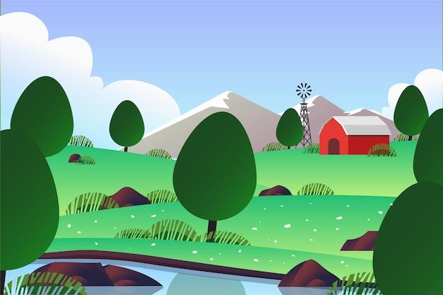 風車と農場の春の風景