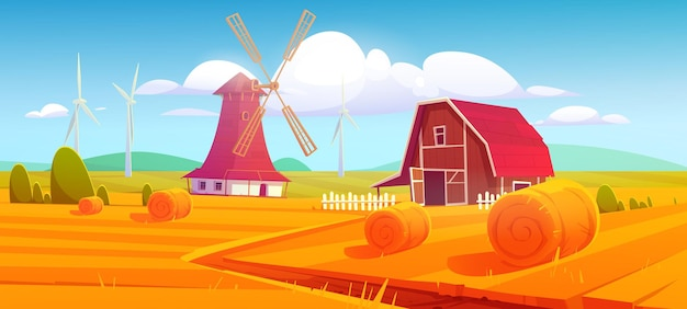 Windmill and barn in farm on rural landscape