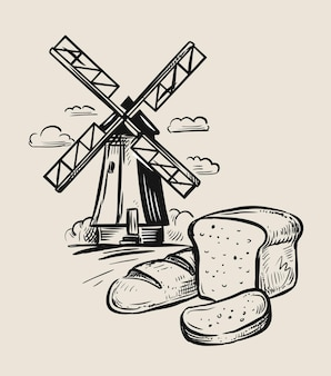 Windmill and bread sketch. hand-drawn.