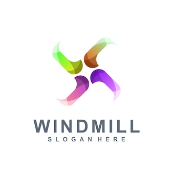 Windmill colorful logo Premium Vector