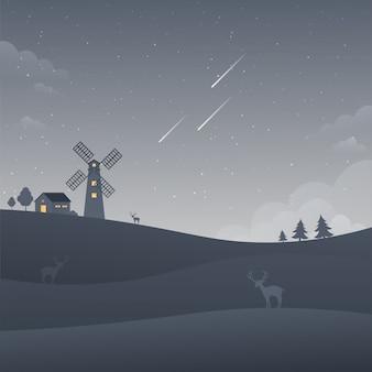 Windmill dark night sky landscape landscape falling stars nature background