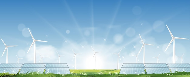 Windmill farm and solar panel for electric power productions on green grass fields