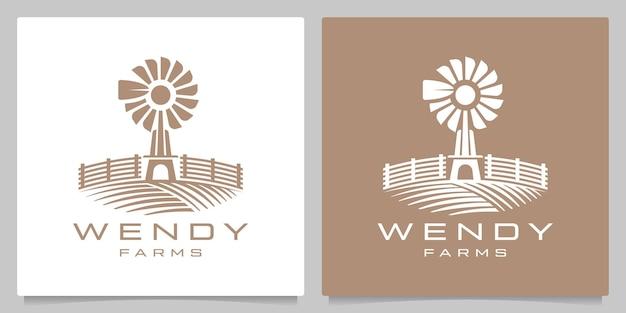 風車農業風景自然の庭の村レトロなヴィンテージのロゴデザイン