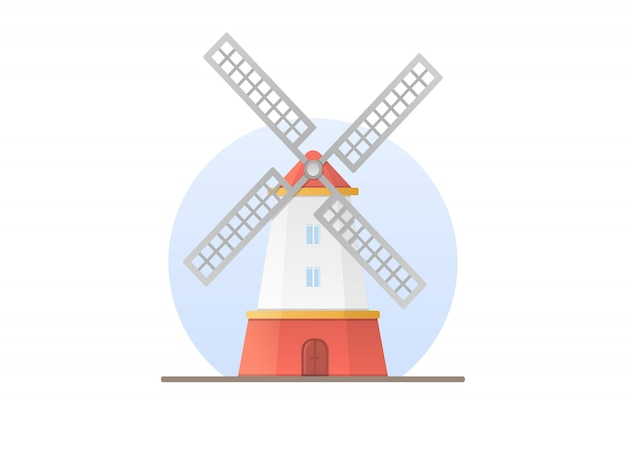 Windmill in flat style