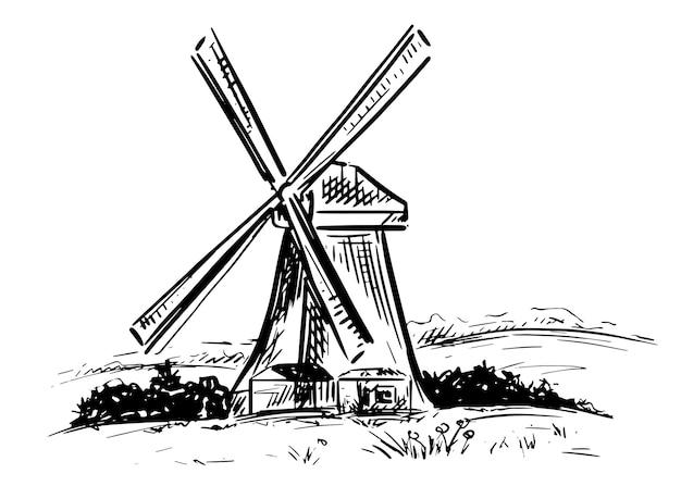 Стиль рисованной ветряная мельница. векторная иллюстрация