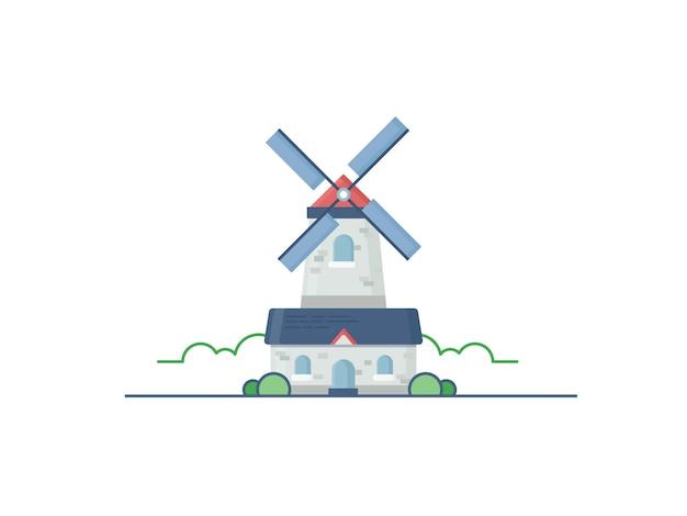 Иллюстрация мельницы в плоском стиле