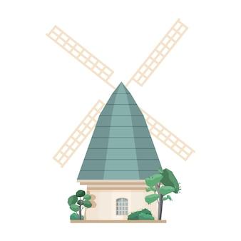 白い背景で隔離の風車。古いヨーロッパのポストミル。農業生産のための農場構造または建設。