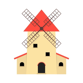 Windmill like production of organic food. concept of factory, roof, farmland, barn, farmhouse, bakehouse, landmark. flat style trend modern graphic design vector illustration on white background