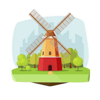Windmill or mill farm on nature forest landscape vector illustration in flat cartoon style