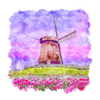 Windmill netherlands watercolor sketch hand drawn