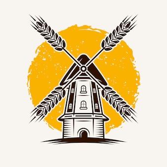 Ветряная мельница на фоне с желтым гранж пятно векторные иллюстрации