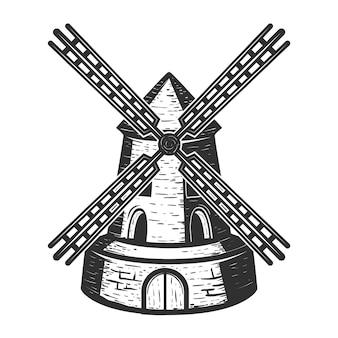 Ветряная мельница на белом фоне. элементы для, этикетки, эмблемы, знака, торговой марки. иллюстрация