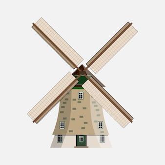 Ветряная мельница на белом фоне в плоском дизайне