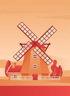 Windmill poster flat vector illustration