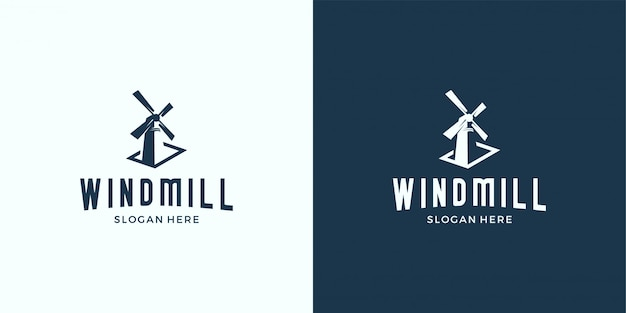 Ветряная мельница силуэт логотип