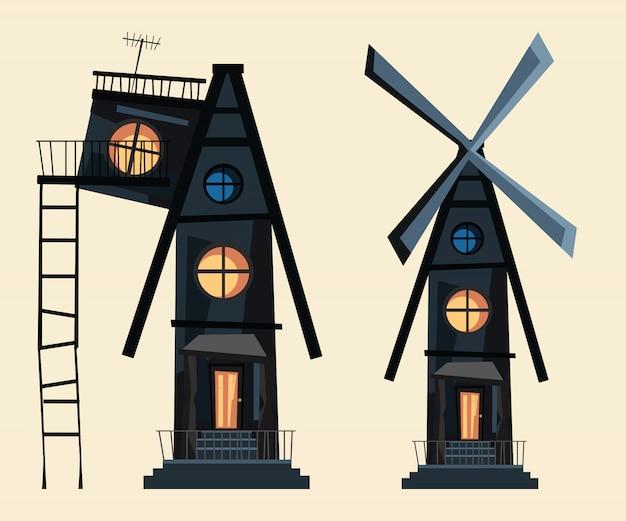 Windmill spooky house set vector illustration