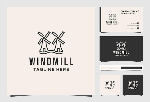 Windmill vintage logo and business card design Premium Vector