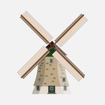 Windmill on white background in flat design