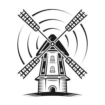 Ветряная мельница с линиями вращения векторные монохромные иллюстрации в винтажном стиле, изолированные на белом фоне