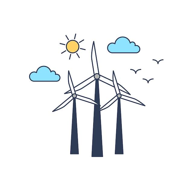 Ветряные мельницы векторные цветные линейные иллюстрации.