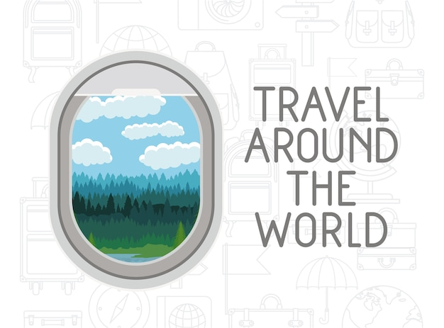 Window airplane travel around the world