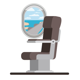 Window airplane with chair