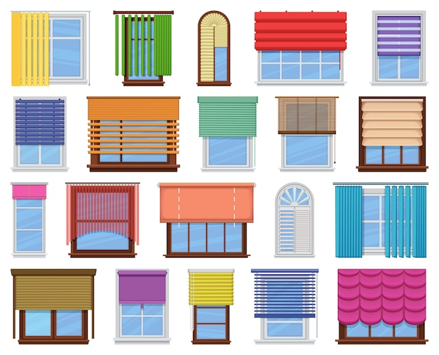 창 블라인드 벡터 만화 아이콘 세트입니다. jalousie 집 흰색 바탕에 컬렉션 벡터 일러스트 레이 션. 웹 디자인을 위한 블라인드 창의 격리된 만화 그림 아이콘 세트입니다.