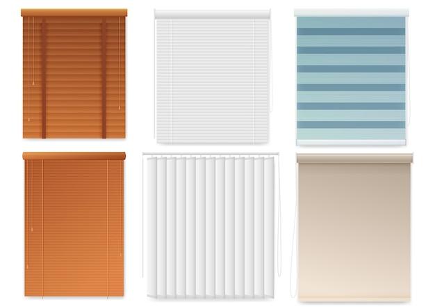 창 블라인드 또는 셔터 템플릿 현실적인 세트