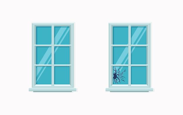 ひびの入ったガラスのイラストで壊れた窓