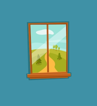 도, 나무 그린 필드와 계곡 여름 태양 풍경 창 만화 다채로운 벡터 일러스트 레이 션