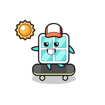 ウィンドウキャラクターイラストはスケートボードに乗る、tシャツ、ステッカー、ロゴ要素のかわいいスタイルのデザイン