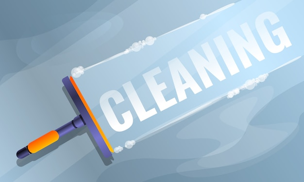 Window cleaning concept banner, cartoon style