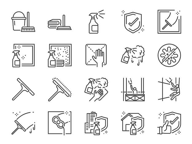 Window cleaning line icon set.