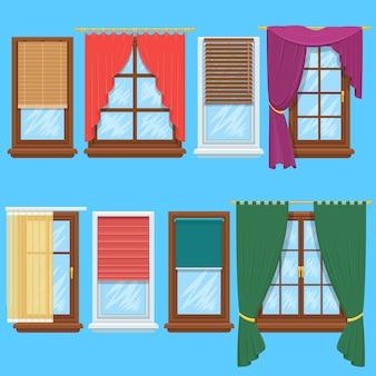 창 커튼과 블라인드 세트. 집이나 창조적 인 홈 인테리어, 벡터 일러스트 레이션을위한 블라인드