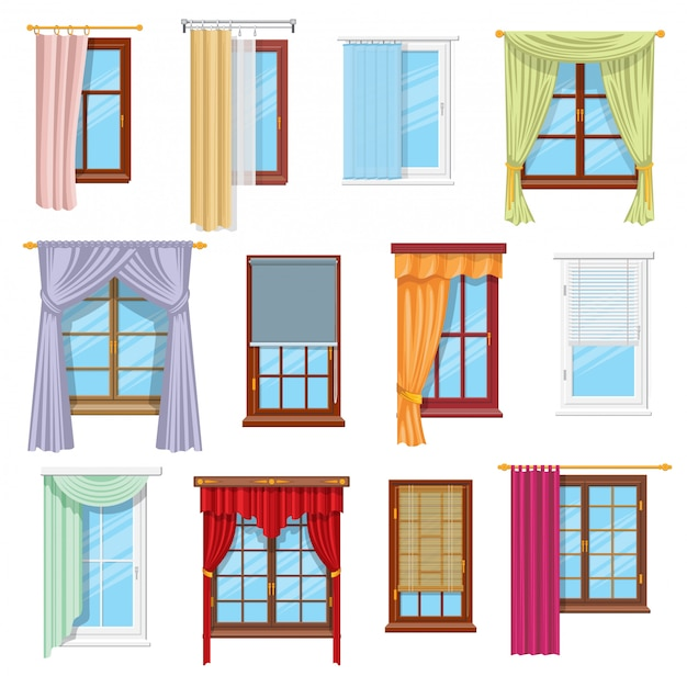 Window curtains, draperies, blinds. home interior