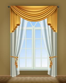 Реалистичная композиция оконных штор с внутренним видом на окно комнаты и роскошные золотые шторы с кружевом Бесплатные векторы
