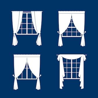 窓のカーテンセット。青いvackgroundの白いcurtansおよび窓のシルエット。図