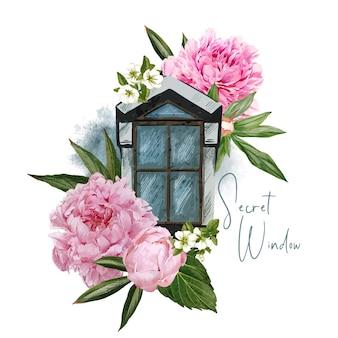 花のコンセプトのウィンドウデザイン