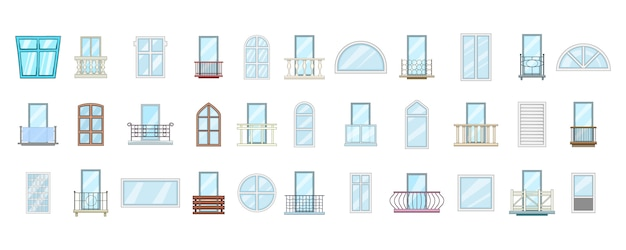 Window element set. cartoon set of window vector elements