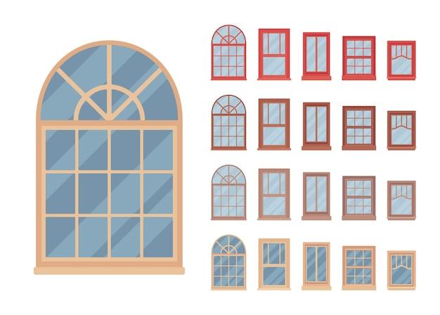 フレームにガラスを取り付けた建物の窓