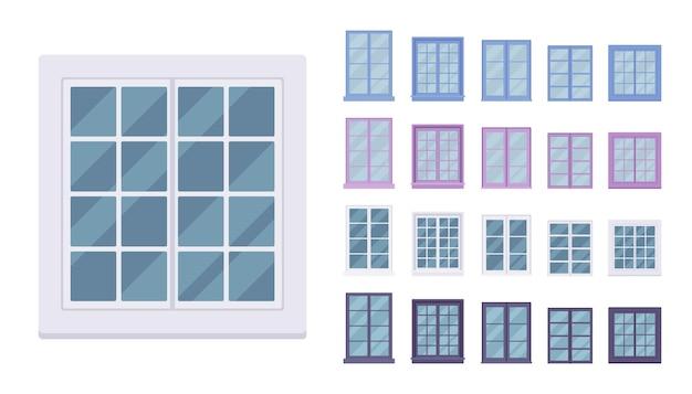 프레임에 유리가 장착 된 건물 용 창