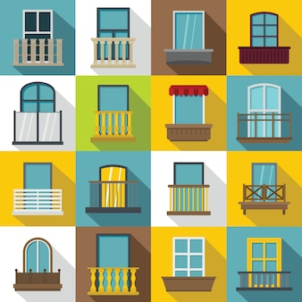 Window forms icons set balcony, flat style