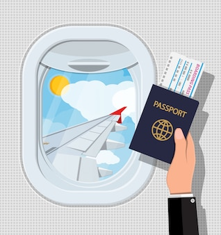 Window from inside the airplane. hand with passport and ticket. aircraft porthole shutter and wing. air journey or vacation concept. illustration in flat style